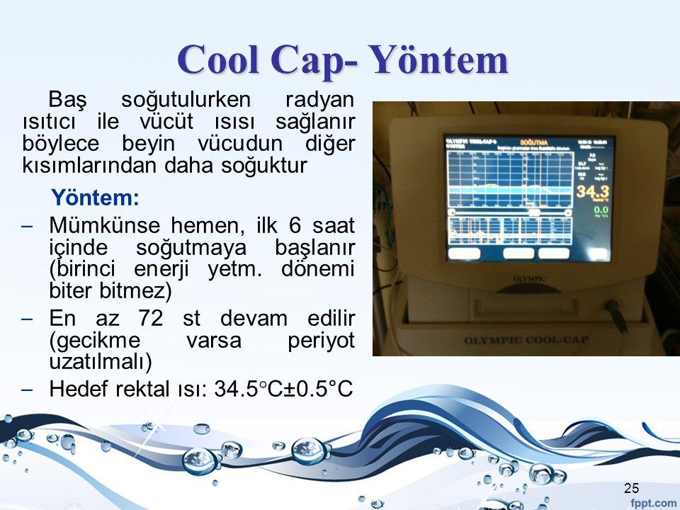 Cool Cap- Yöntem Baş soğutulurken radyan ısıtıcı ile vücüt ısısı sağlanır böylece beyin vücudun diğer kısımlarından daha soğuktur Yöntem: – Mümkünse h