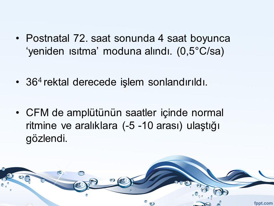 Postnatal 72. saat sonunda 4 saat boyunca 'yeniden ısıtma' moduna alındı. (0,5°C/sa) 36 4 rektal derecede işlem sonlandırıldı. CFM de amplütünün saatl