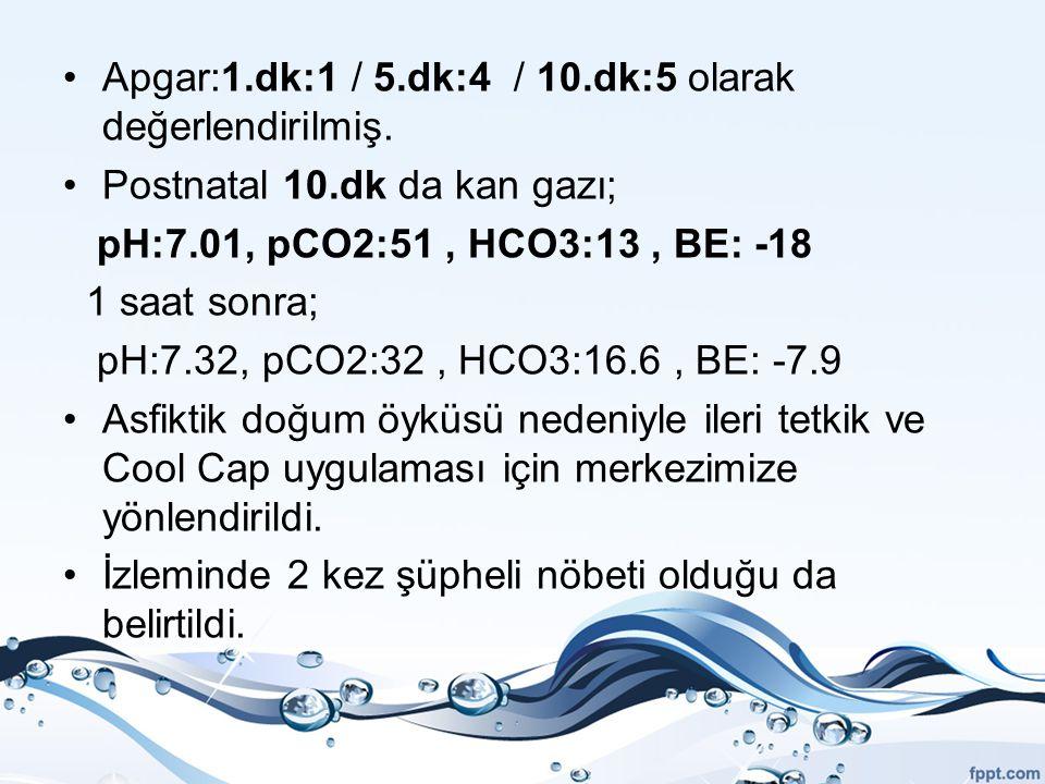 Apgar:1.dk:1 / 5.dk:4 / 10.dk:5 olarak değerlendirilmiş. Postnatal 10.dk da kan gazı; pH:7.01, pCO2:51, HCO3:13, BE: -18 1 saat sonra; pH:7.32, pCO2:3