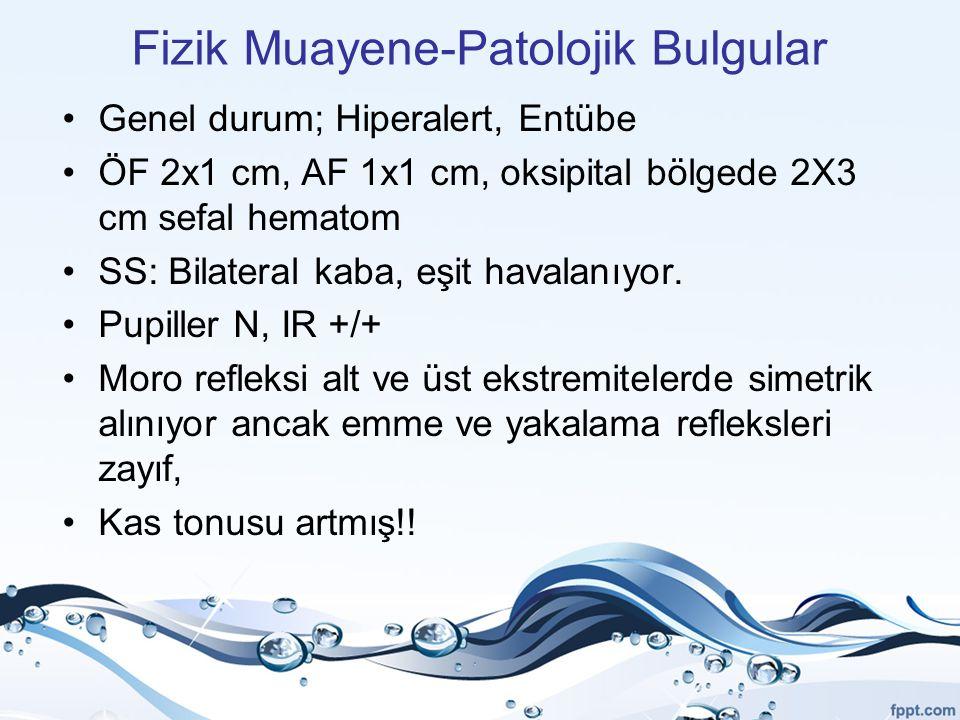 Fizik Muayene-Patolojik Bulgular Genel durum; Hiperalert, Entübe ÖF 2x1 cm, AF 1x1 cm, oksipital bölgede 2X3 cm sefal hematom SS: Bilateral kaba, eşit