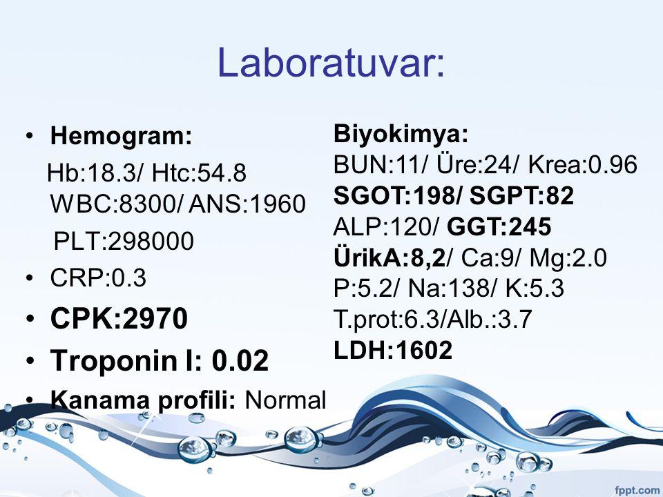 Laboratuvar: Hemogram: Hb:18.3/ Htc:54.8 WBC:8300/ ANS:1960 PLT:298000 CRP:0.3 CPK:2970 Troponin I: 0.02 Kanama profili: Normal Biyokimya: BUN:11/ Üre