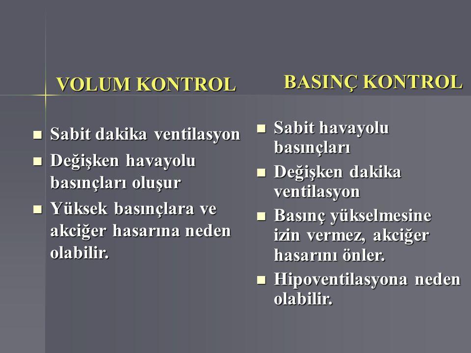 VOLUM KONTROL VOLUM KONTROL Sabit dakika ventilasyon Sabit dakika ventilasyon Değişken havayolu basınçları oluşur Değişken havayolu basınçları oluşur