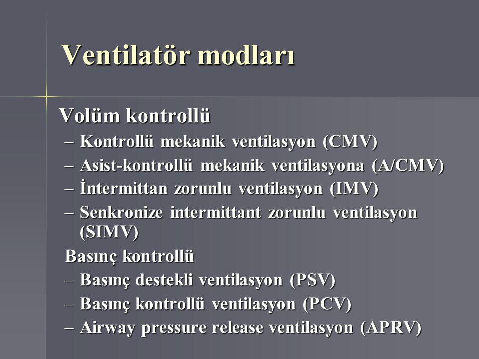 Ventilatör modları Volüm kontrollü –Kontrollü mekanik ventilasyon (CMV) –Asist-kontrollü mekanik ventilasyona (A/CMV) –İntermittan zorunlu ventilasyon