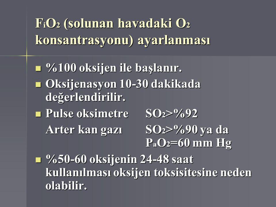F i O 2 (solunan havadaki O 2 konsantrasyonu) ayarlanması %100 oksijen ile başlanır. %100 oksijen ile başlanır. Oksijenasyon 10-30 dakikada değerlendi