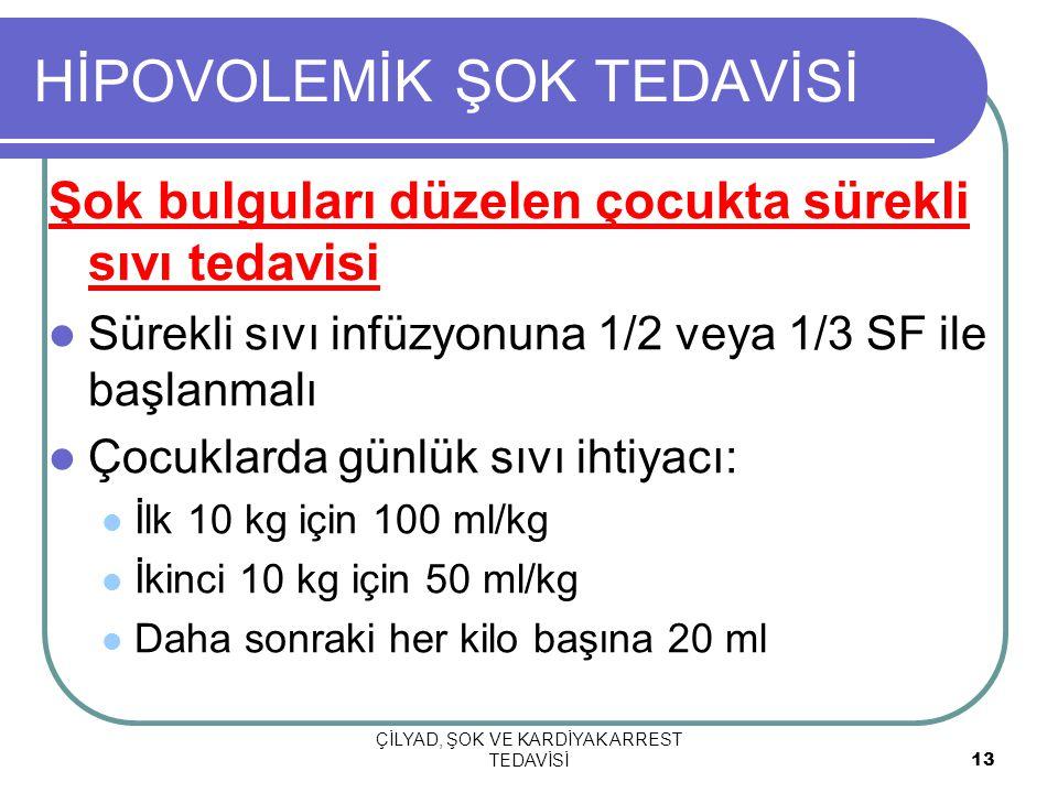 ÇİLYAD, ŞOK VE KARDİYAK ARREST TEDAVİSİ 13 HİPOVOLEMİK ŞOK TEDAVİSİ Şok bulguları düzelen çocukta sürekli sıvı tedavisi Sürekli sıvı infüzyonuna 1/2 veya 1/3 SF ile başlanmalı Çocuklarda günlük sıvı ihtiyacı: İlk 10 kg için 100 ml/kg İkinci 10 kg için 50 ml/kg Daha sonraki her kilo başına 20 ml