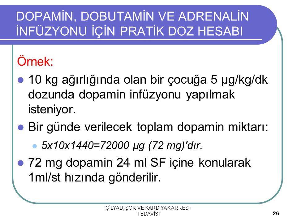 Örnek: 10 kg ağırlığında olan bir çocuğa 5 µg/kg/dk dozunda dopamin infüzyonu yapılmak isteniyor. Bir günde verilecek toplam dopamin miktarı: 5x10x144