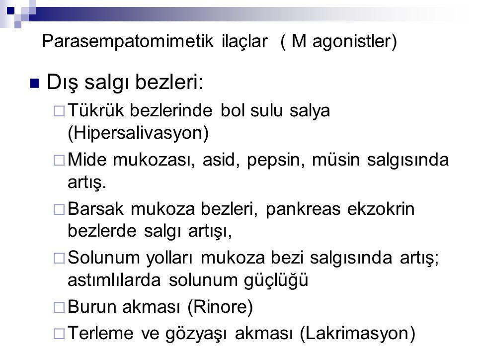 Parasempatomimetik ilaçlar ( M agonistler) Dış salgı bezleri:  Tükrük bezlerinde bol sulu salya (Hipersalivasyon)  Mide mukozası, asid, pepsin, müsi