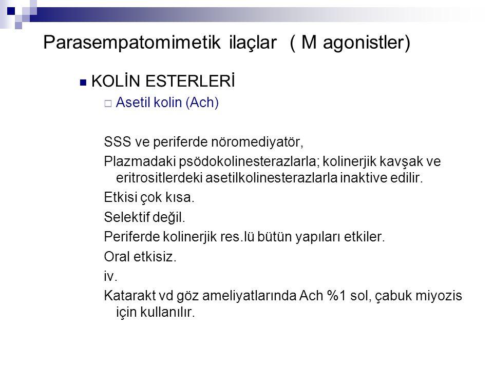 Parasempatomimetik ilaçlar ( M agonistler) KOLİN ESTERLERİ  Asetil kolin (Ach) SSS ve periferde nöromediyatör, Plazmadaki psödokolinesterazlarla; kol