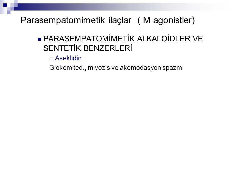 Parasempatomimetik ilaçlar ( M agonistler) PARASEMPATOMİMETİK ALKALOİDLER VE SENTETİK BENZERLERİ  Aseklidin Glokom ted., miyozis ve akomodasyon spazm