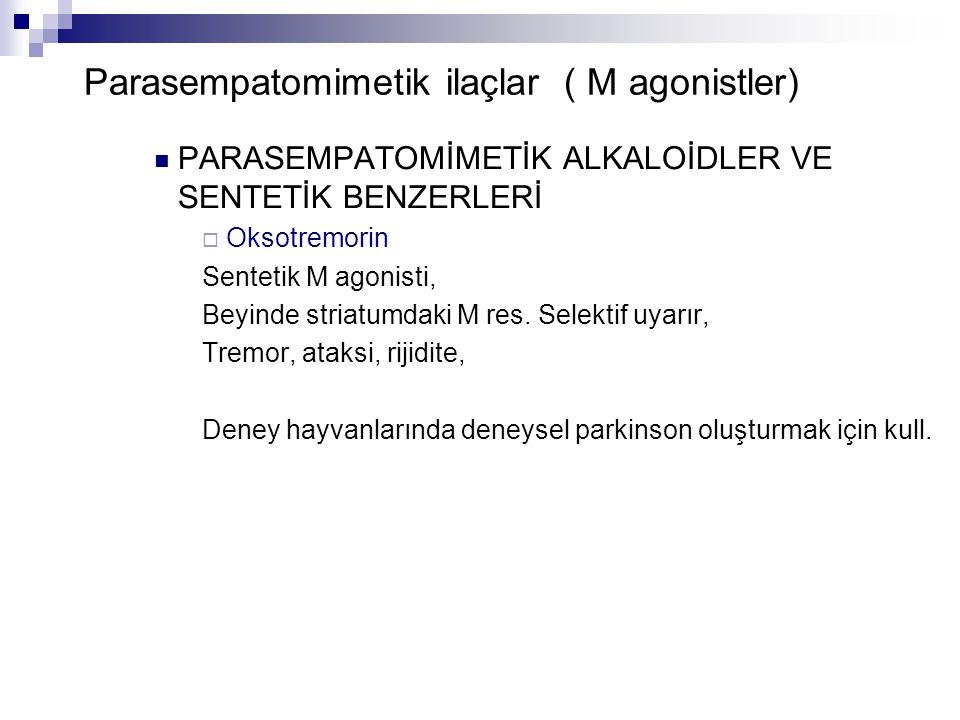 Parasempatomimetik ilaçlar ( M agonistler) PARASEMPATOMİMETİK ALKALOİDLER VE SENTETİK BENZERLERİ  Oksotremorin Sentetik M agonisti, Beyinde striatumd