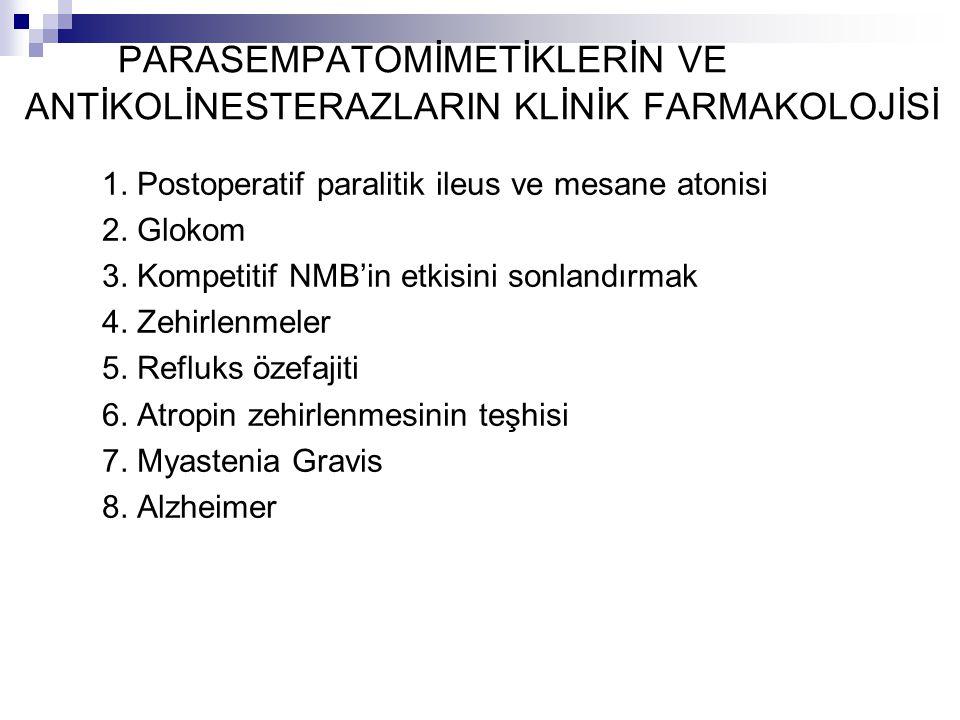 PARASEMPATOMİMETİKLERİN VE ANTİKOLİNESTERAZLARIN KLİNİK FARMAKOLOJİSİ 1. Postoperatif paralitik ileus ve mesane atonisi 2. Glokom 3. Kompetitif NMB'in