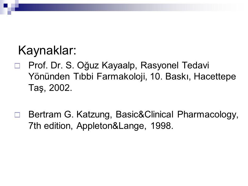 Kaynaklar:  Prof. Dr. S. Oğuz Kayaalp, Rasyonel Tedavi Yönünden Tıbbi Farmakoloji, 10. Baskı, Hacettepe Taş, 2002.  Bertram G. Katzung, Basic&Clinic