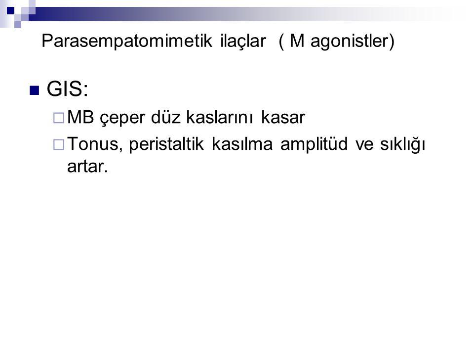 Parasempatomimetik ilaçlar ( M agonistler) GIS:  MB çeper düz kaslarını kasar  Tonus, peristaltik kasılma amplitüd ve sıklığı artar.