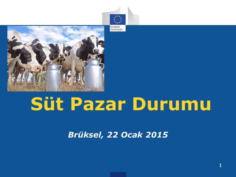 Kaynak:562/2005 ve 479/2010 sayılı Regülasyon kapsamında üye ülkelerden alınan bilgiler 22 Ocak 2015 AB Tereyağı ve Yağsız Süt Tozu Kotasyonları 12 (Üye ülkelerden alınan bilgilere göre AB ortalamaları ve üretim miktarları)