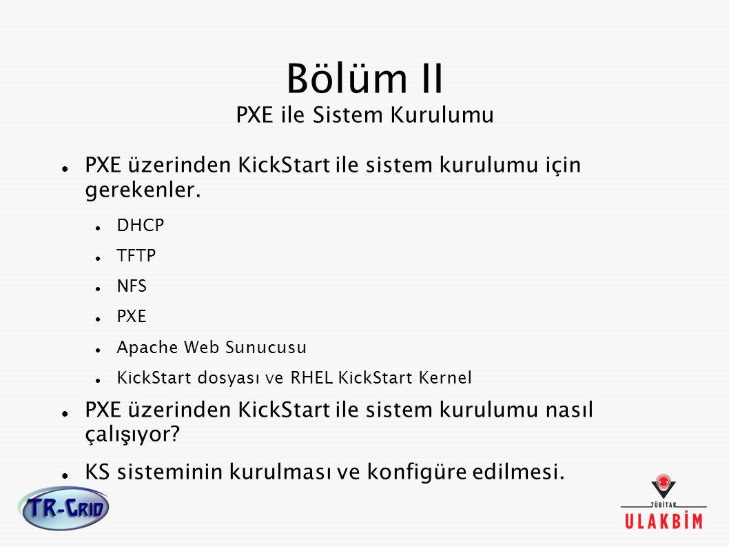 Bölüm II PXE ile Sistem Kurulumu PXE üzerinden KickStart ile sistem kurulumu için gerekenler. DHCP TFTP NFS PXE Apache Web Sunucusu KickStart dosyası