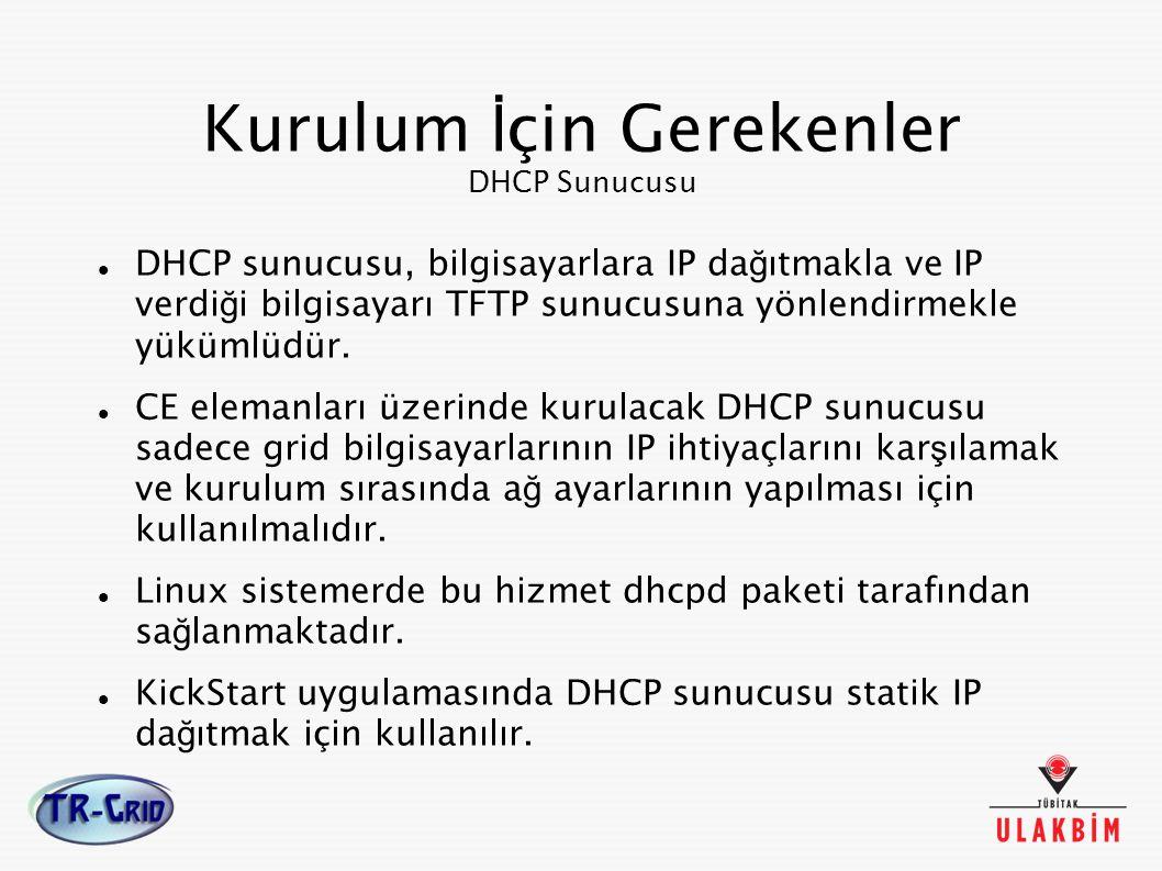 DHCP sunucusu, bilgisayarlara IP da ğ ıtmakla ve IP verdi ğ i bilgisayarı TFTP sunucusuna yönlendirmekle yükümlüdür. CE elemanları üzerinde kurulacak