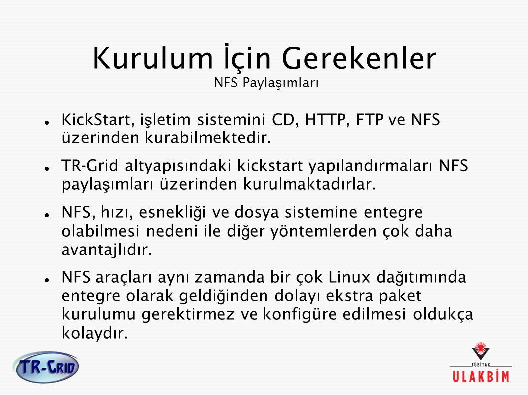 Kurulum İ çin Gerekenler NFS Payla ş ımları KickStart, i ş letim sistemini CD, HTTP, FTP ve NFS üzerinden kurabilmektedir. TR-Grid altyapısındaki kick