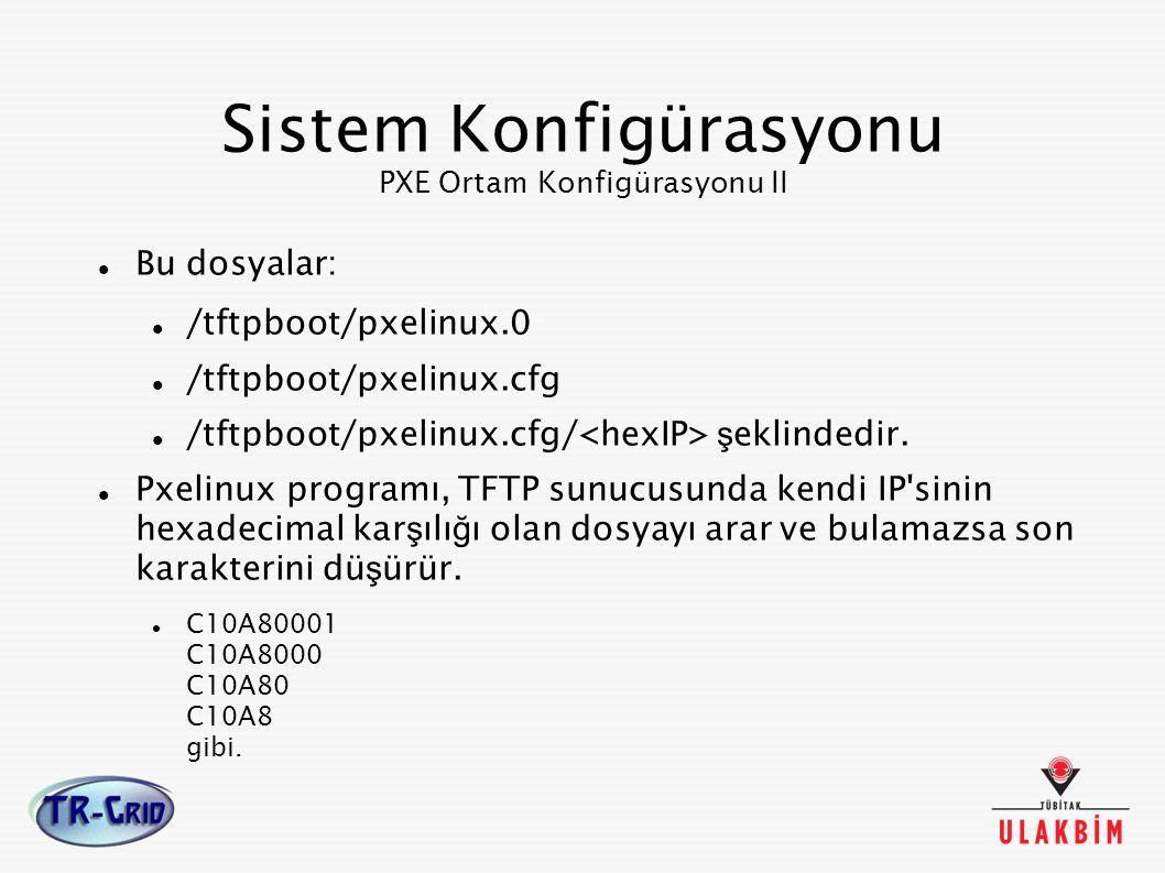 Sistem Konfigürasyonu PXE Ortam Konfigürasyonu II Bu dosyalar: /tftpboot/pxelinux.0 /tftpboot/pxelinux.cfg /tftpboot/pxelinux.cfg/ ş eklindedir. Pxeli