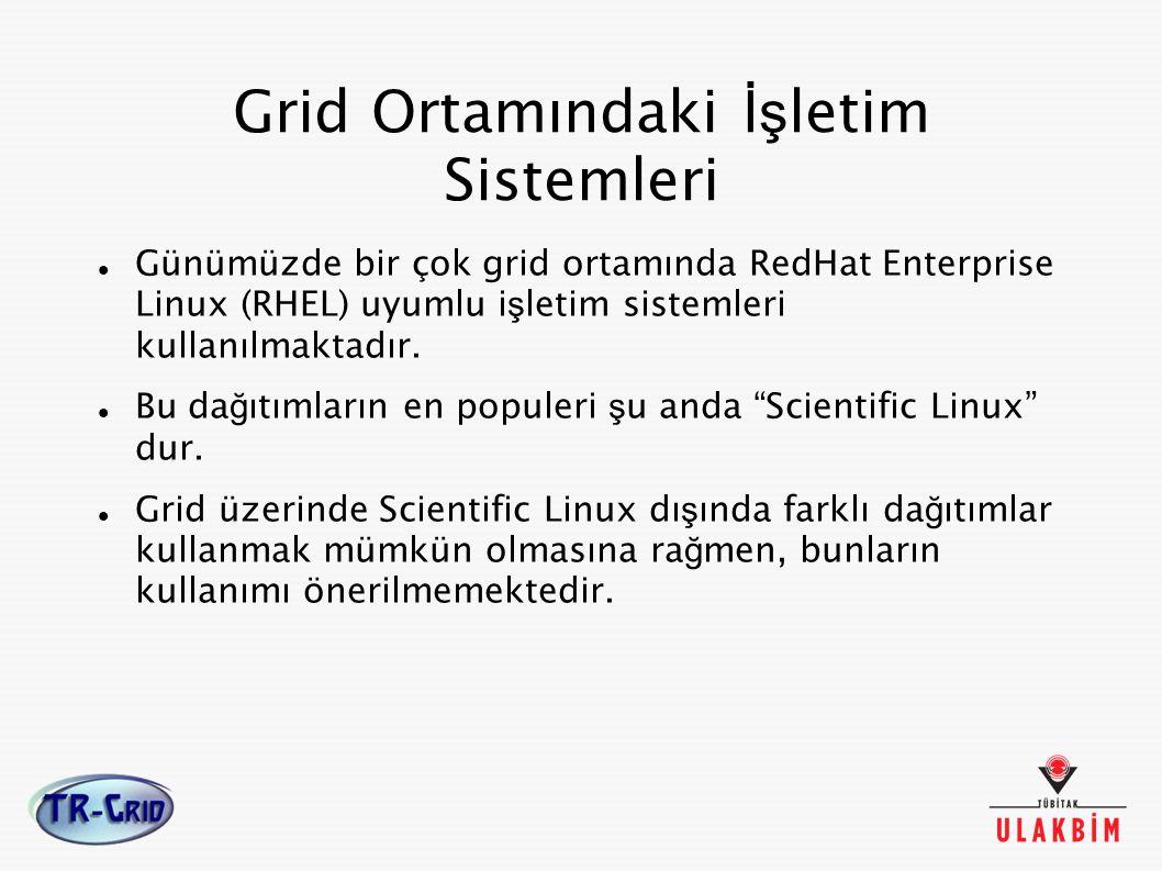 Grid Ortamındaki İş letim Sistemleri Günümüzde bir çok grid ortamında RedHat Enterprise Linux (RHEL) uyumlu i ş letim sistemleri kullanılmaktadır. Bu