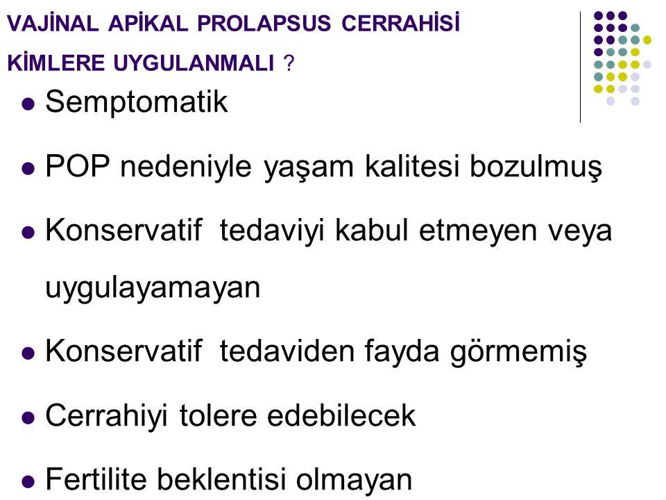 VAJİNAL APİKAL PROLAPSUS CERRAHİSİ KİMLERE UYGULANMALI .