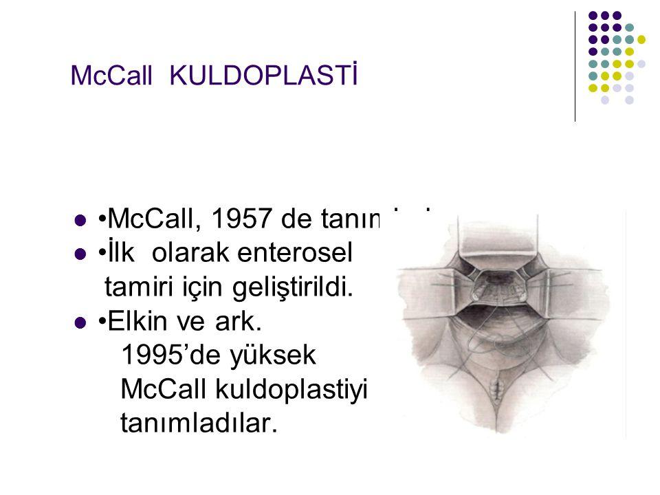 McCall KULDOPLASTİ McCall, 1957 de tanımladı.İlk olarak enterosel tamiri için geliştirildi.
