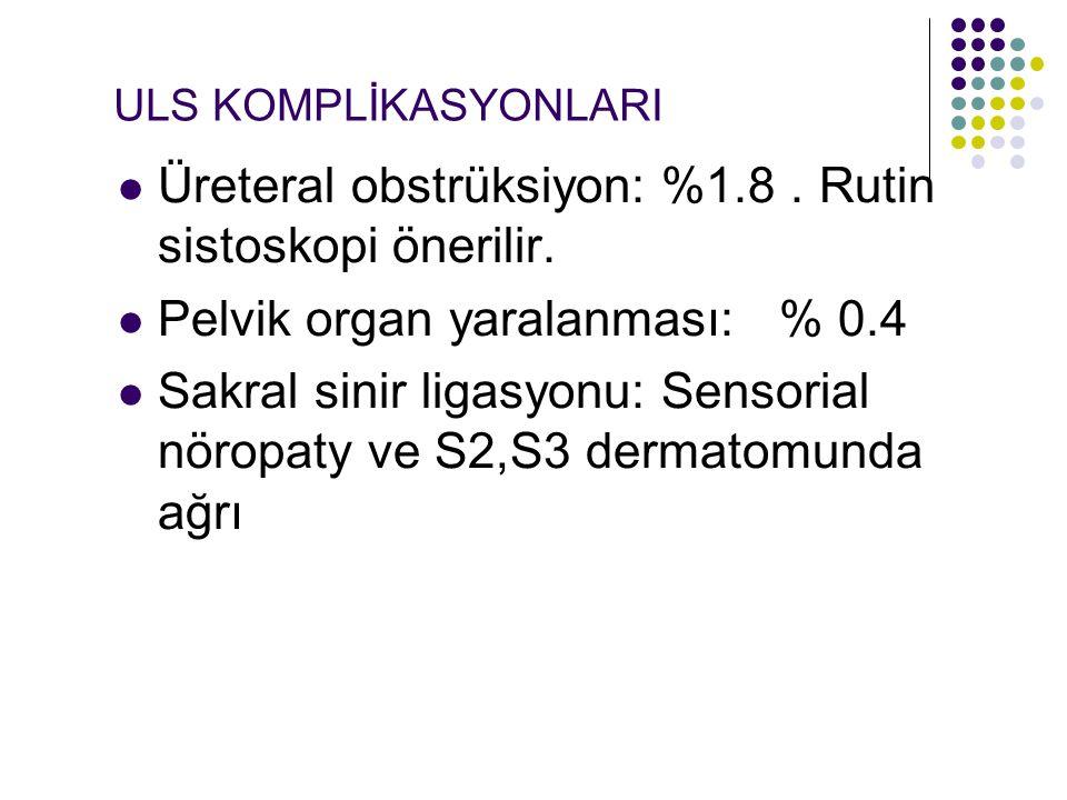 ULS KOMPLİKASYONLARI Üreteral obstrüksiyon: %1.8.Rutin sistoskopi önerilir.