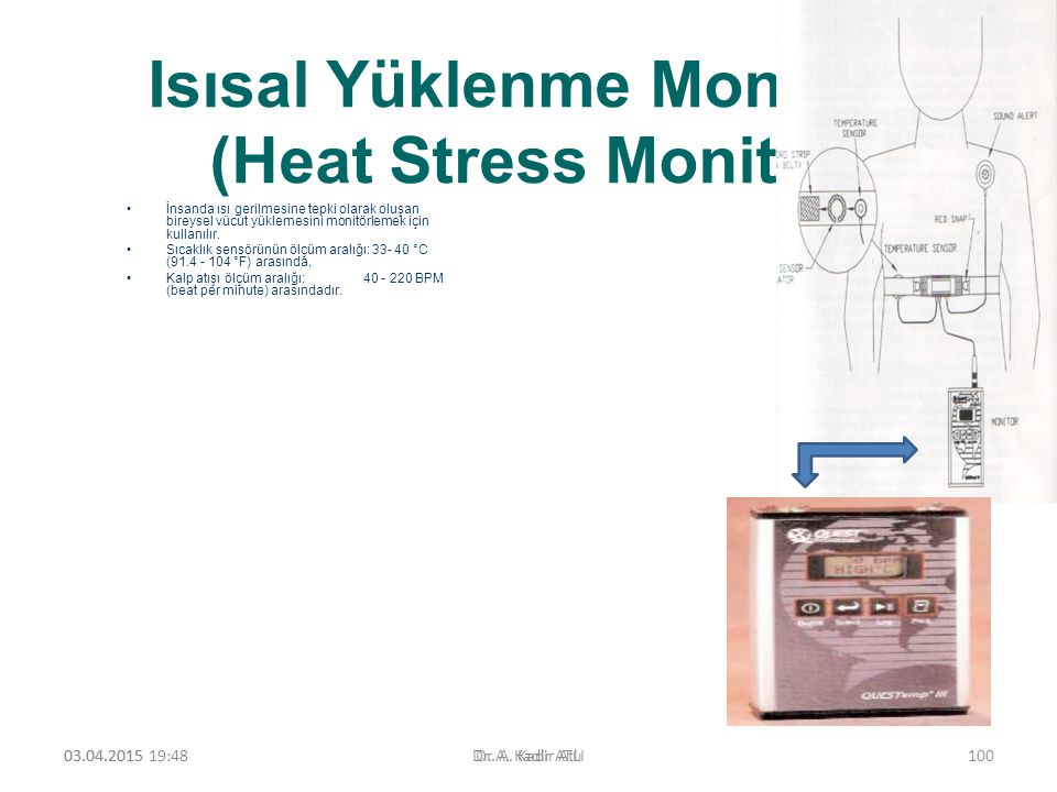 Isısal Yüklenme Monitörü (Heat Stress Monitor) İnsanda ısı gerilmesine tepki olarak oluşan bireysel vücut yüklemesini monitörlemek için kullanılır.