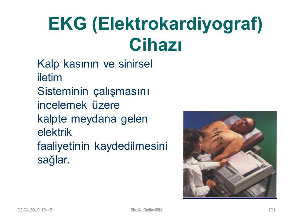 EKG (Elektrokardiyograf) Cihazı 03.04.2015 19:50Dr. A. Kadir ATLI Kalp kasının ve sinirsel iletim Sisteminin çalışmasını incelemek üzere kalpte meydan