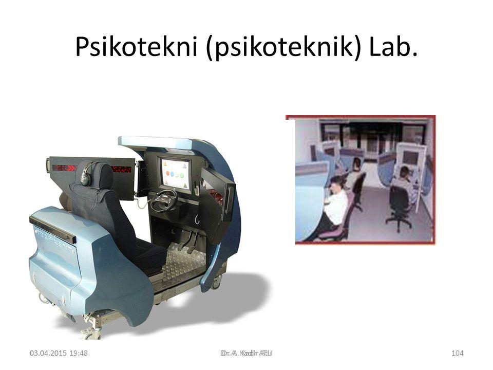 Psikotekni (psikoteknik) Lab. 03.04.2015 19:50Dr. A. Kadir ATLI03.04.2015Dr. A. Kadir Atlı104