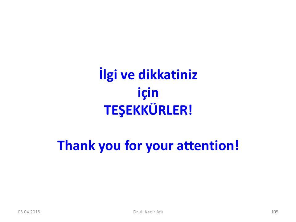 İlgi ve dikkatiniz için TEŞEKKÜRLER! Thank you for your attention! 10503.04.2015Dr. A. Kadir Atlı105