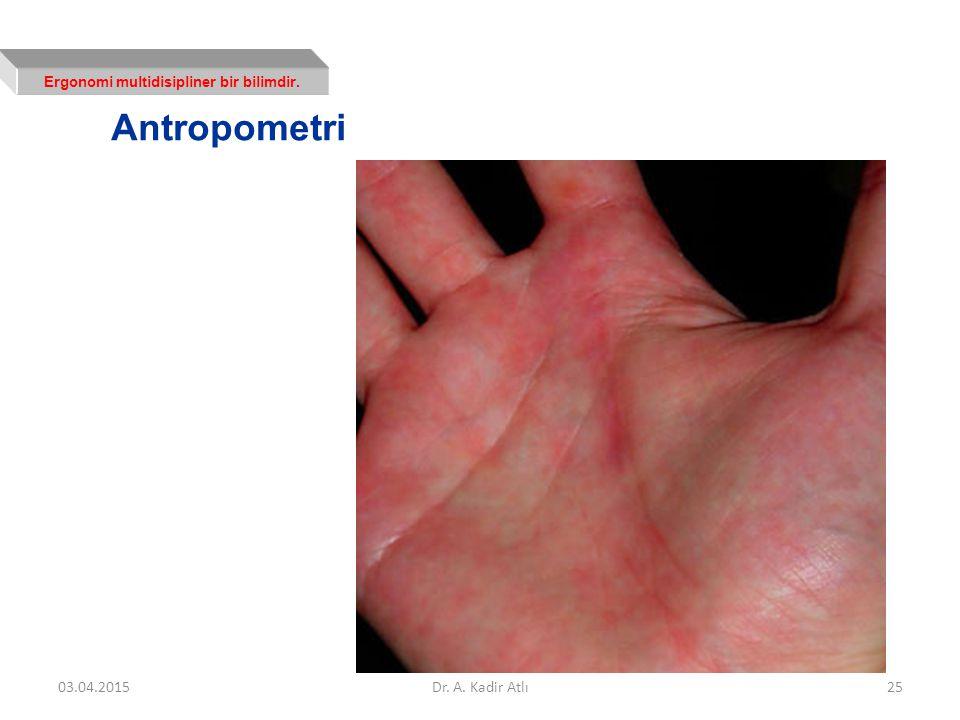 Ergonomi multidisipliner bir bilimdir. Antropometri 03.04.2015Dr. A. Kadir Atlı25