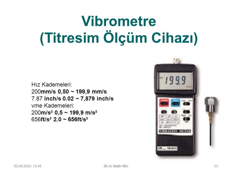 Vibrometre (Titresim Ölçüm Cihazı) 03.04.2015 19:50Dr. A. Kadir ATLI Hız Kademeleri: 200mm/s 0,50 ~ 199,9 mm/s 7.87 inch/s 0.02 ~ 7,879 inch/s vme Kad