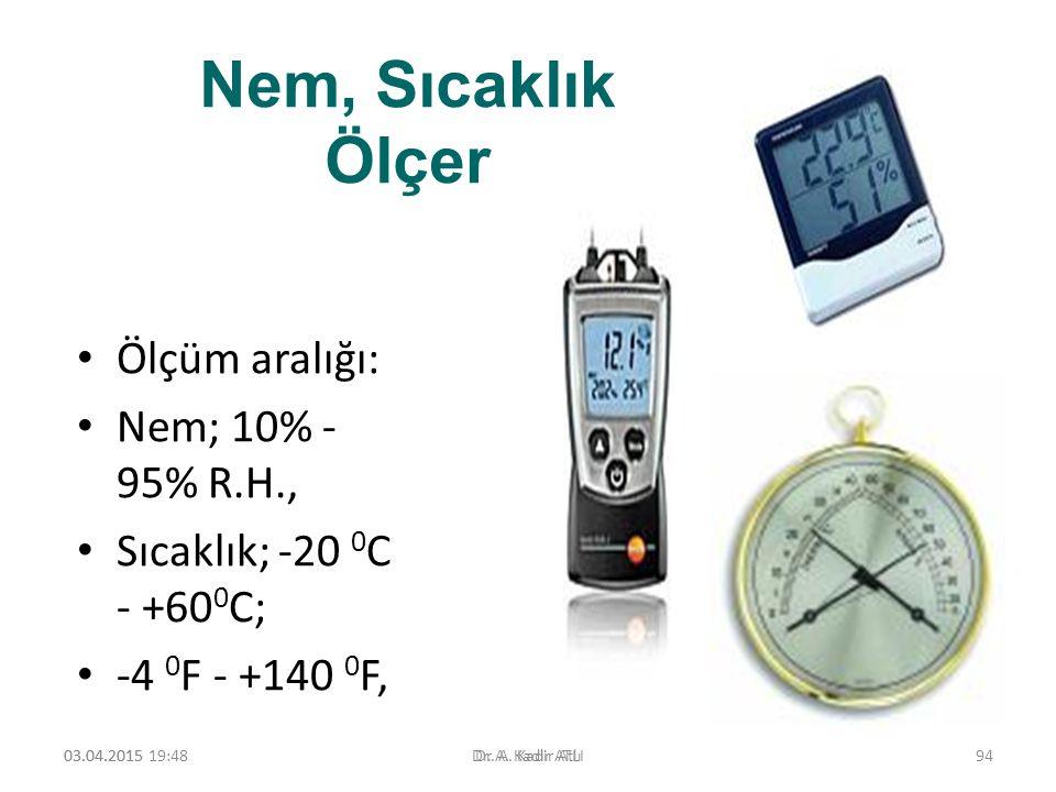 Nem, Sıcaklık Ölçer Ölçüm aralığı: Nem; 10% - 95% R.H., Sıcaklık; -20 0 C - +60 0 C; -4 0 F - +140 0 F, 03.04.2015 19:50Dr. A. Kadir ATLI03.04.2015Dr.
