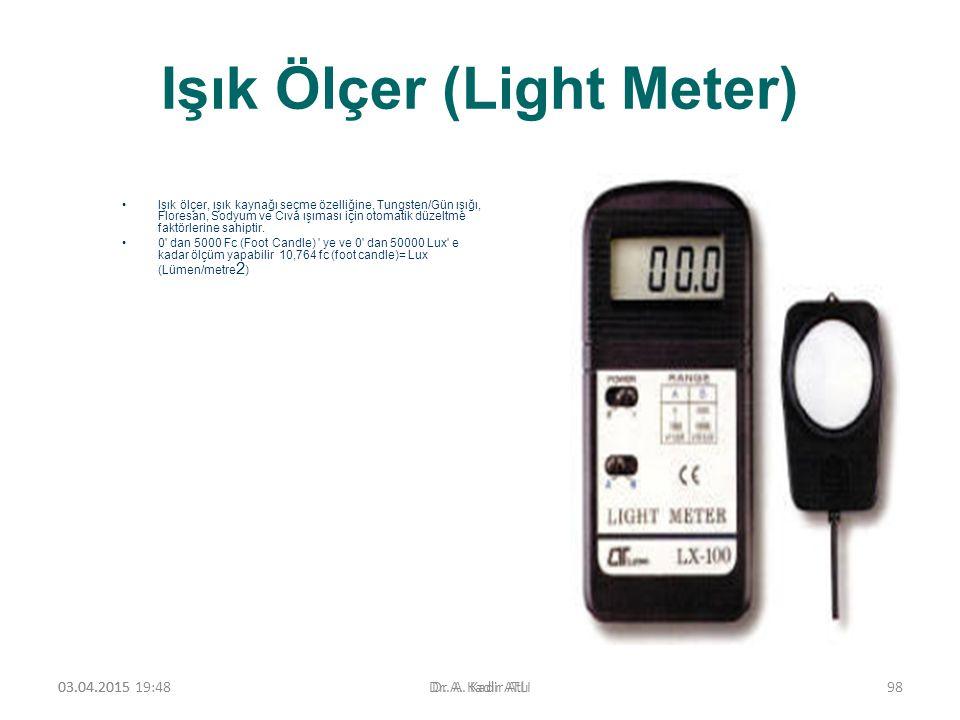 Işık Ölçer (Light Meter) Işık ölçer, ışık kaynağı seçme özelliğine, Tungsten/Gün ışığı, Floresan, Sodyum ve Cıva ışıması için otomatik düzeltme faktör