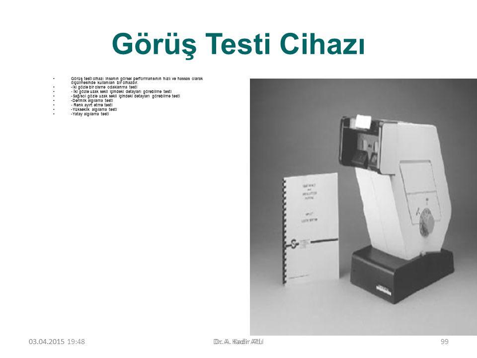 Görüş Testi Cihazı Görüş testi cihazı insanın görsel performansının hızlı ve hassas olarak ölçülmesinde kullanılan bir cihazdır. -İki gözle bir cisme