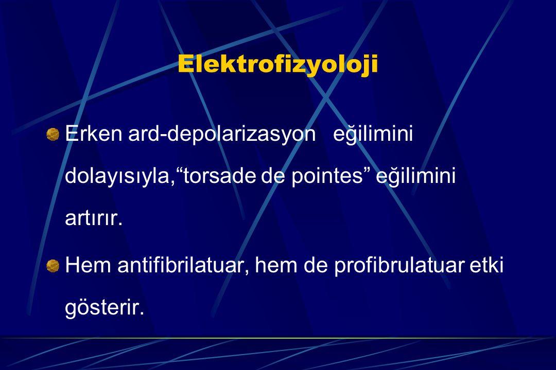 """Elektrofizyoloji Erken ard-depolarizasyon eğilimini dolayısıyla,""""torsade de pointes"""" eğilimini artırır. Hem antifibrilatuar, hem de profibrulatuar etk"""