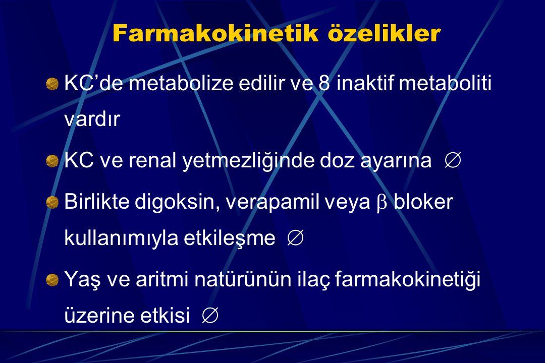 Farmakokinetik özelikler KC'de metabolize edilir ve 8 inaktif metaboliti vardır KC ve renal yetmezliğinde doz ayarına  Birlikte digoksin, verapamil v