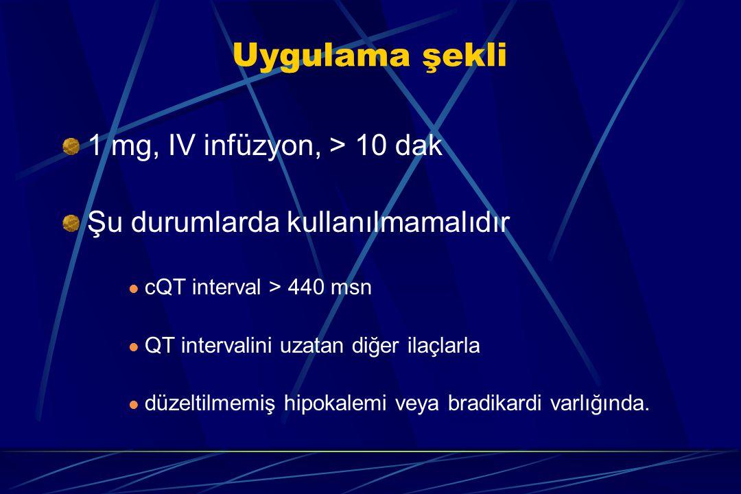 Uygulama şekli 1 mg, IV infüzyon, > 10 dak Şu durumlarda kullanılmamalıdır cQT interval > 440 msn QT intervalini uzatan diğer ilaçlarla düzeltilmemiş