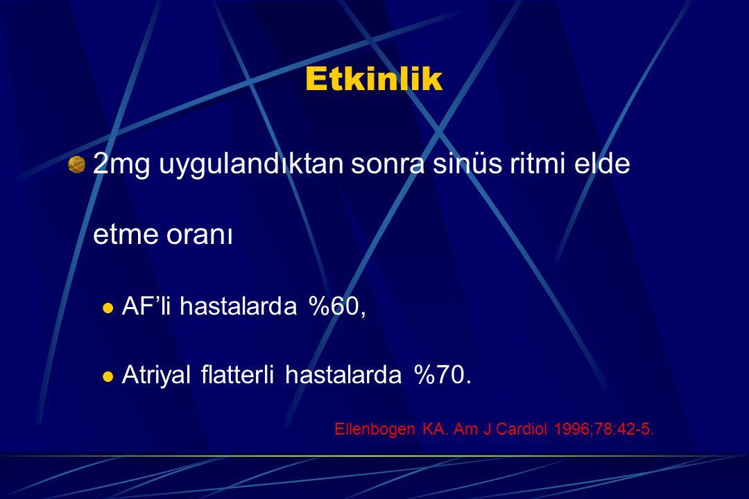 Etkinlik 2mg uygulandıktan sonra sinüs ritmi elde etme oranı AF'li hastalarda %60, Atriyal flatterli hastalarda %70. Ellenbogen KA. Am J Cardiol 1996;