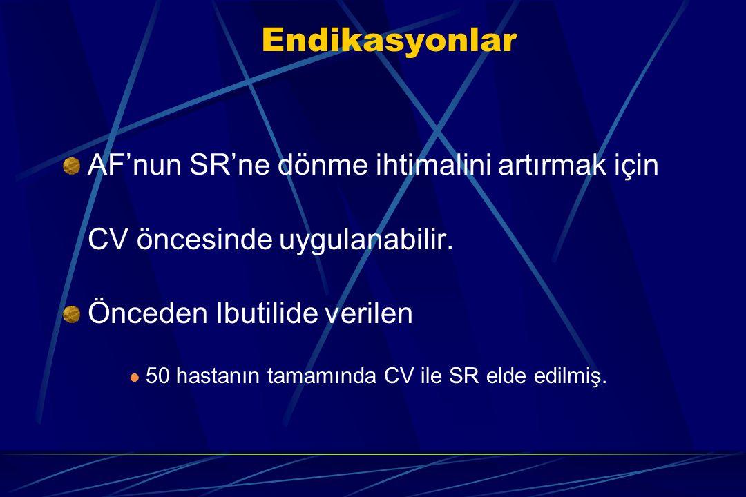 Endikasyonlar AF'nun SR'ne dönme ihtimalini artırmak için CV öncesinde uygulanabilir. Önceden Ibutilide verilen 50 hastanın tamamında CV ile SR elde e