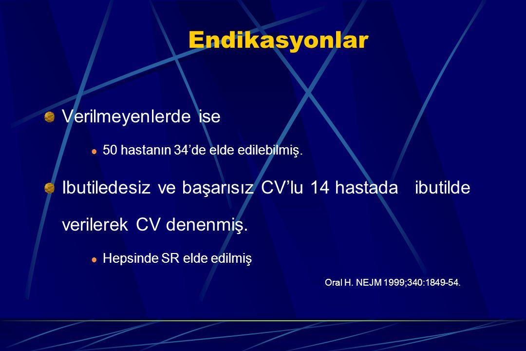 Endikasyonlar Verilmeyenlerde ise 50 hastanın 34'de elde edilebilmiş. Ibutiledesiz ve başarısız CV'lu 14 hastada ibutilde verilerek CV denenmiş. Hepsi