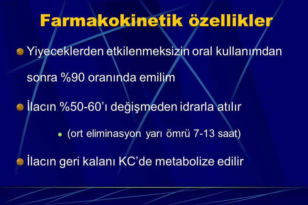 Farmakokinetik özellikler Yiyeceklerden etkilenmeksizin oral kullanımdan sonra %90 oranında emilim İlacın %50-60'ı değişmeden idrarla atılır (ort elim