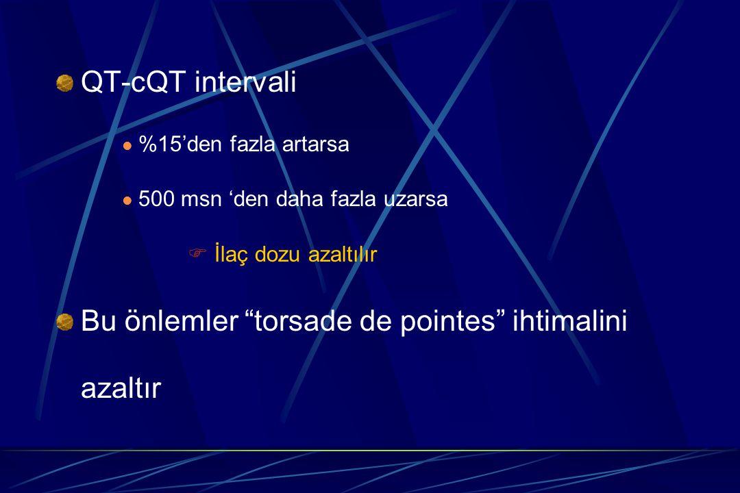 "QT-cQT intervali %15'den fazla artarsa 500 msn 'den daha fazla uzarsa  İlaç dozu azaltılır Bu önlemler ""torsade de pointes"" ihtimalini azaltır"