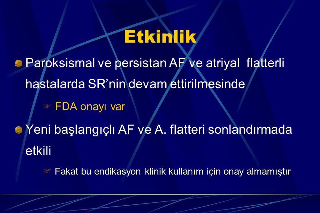 Etkinlik Paroksismal ve persistan AF ve atriyal flatterli hastalarda SR'nin devam ettirilmesinde  FDA onayı var Yeni başlangıçlı AF ve A. flatteri so