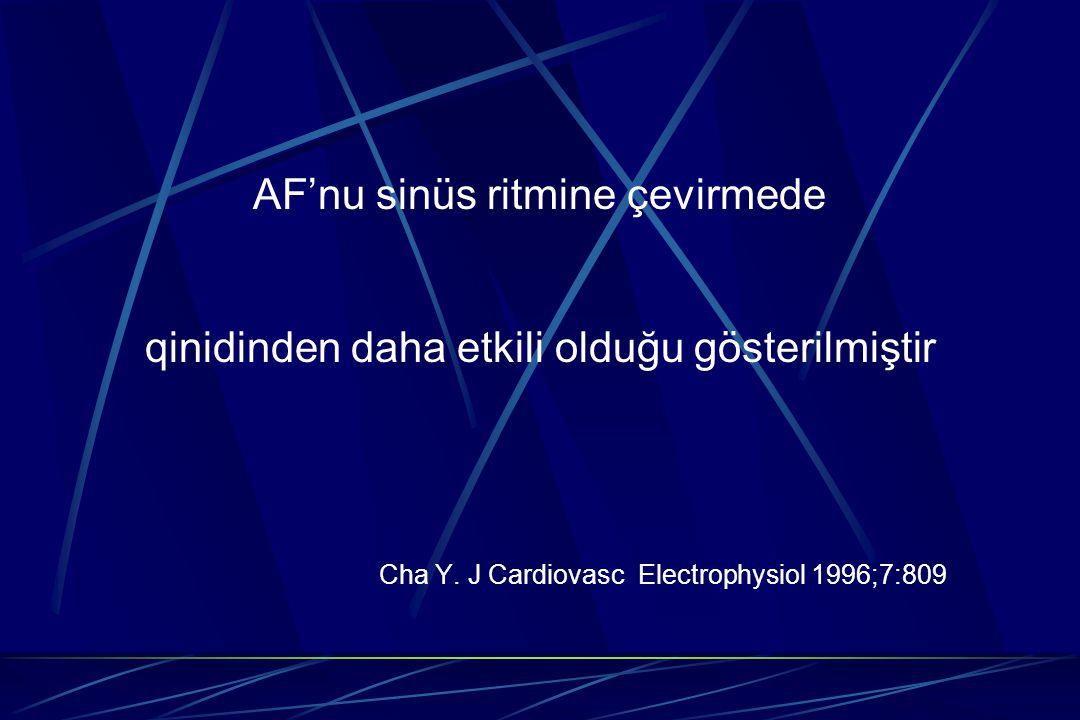 AF'nu sinüs ritmine çevirmede qinidinden daha etkili olduğu gösterilmiştir Cha Y. J Cardiovasc Electrophysiol 1996;7:809
