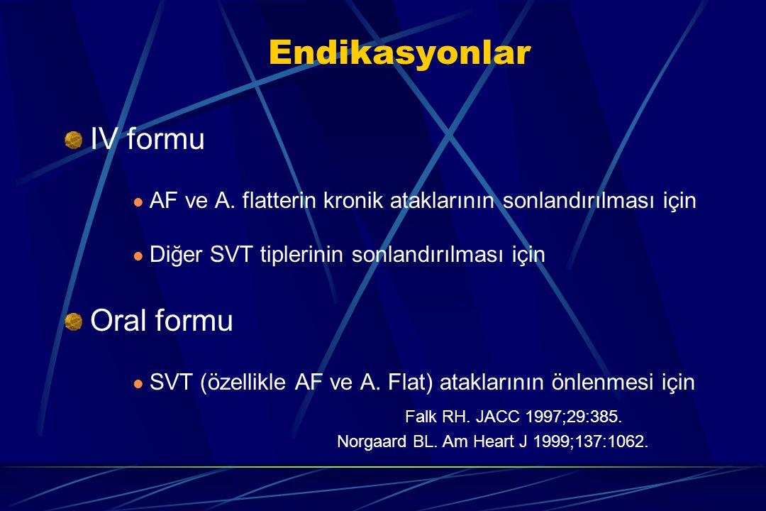 Endikasyonlar IV formu AF ve A. flatterin kronik ataklarının sonlandırılması için Diğer SVT tiplerinin sonlandırılması için Oral formu SVT (özellikle