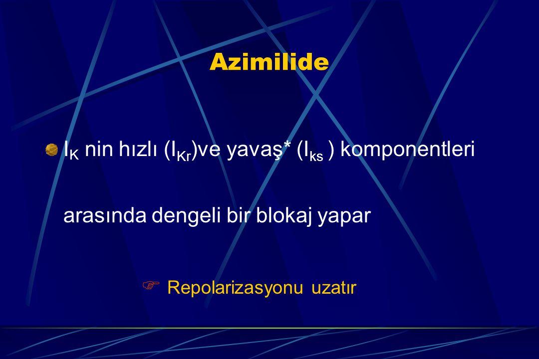 Azimilide I K nin hızlı (I Kr )ve yavaş* (I ks ) komponentleri arasında dengeli bir blokaj yapar  Repolarizasyonu uzatır