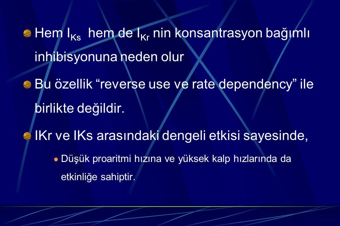 """Hem I Ks hem de I Kr nin konsantrasyon bağımlı inhibisyonuna neden olur Bu özellik """"reverse use ve rate dependency"""" ile birlikte değildir. IKr ve IKs"""