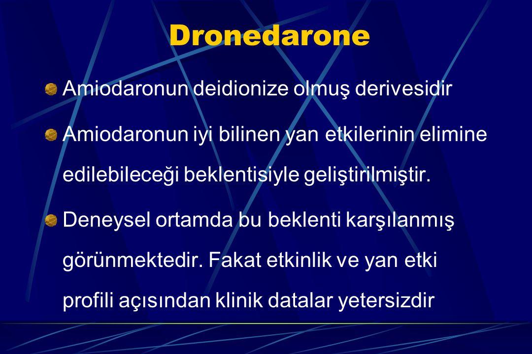 Amiodaronun deidionize olmuş derivesidir Amiodaronun iyi bilinen yan etkilerinin elimine edilebileceği beklentisiyle geliştirilmiştir. Deneysel ortamd