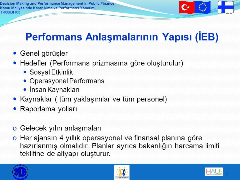 Decision Making and Performance Management in Public Finance Kamu Maliyesinde Karar Alma ve Performans Yönetimi TR08IBFI03 6 Performans Anlaşmalarının Yapısı : Genel Görüşler Misyon, vizyon ve değerlerdeki değişiklikler Hedeflerin temellendirildiği stratejiler Kurum stratejisi İçerik (substance) stratejisi Ajansın kendi stratejisi Devlet bütçe teklifindeki ilgili öncelikli hedefler  Ajansın operasyonel ve finansal planında misyon, vizyon ve değerler bir bütün olarak sunulur.